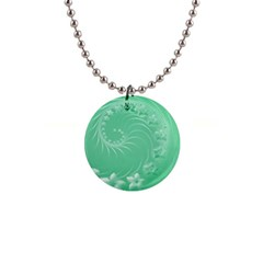 Light Green Abstract Flowers Button Necklace