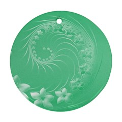 Light Green Abstract Flowers Round Ornament (two Sides) by BestCustomGiftsForYou
