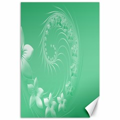 Light Green Abstract Flowers Canvas 12  X 18  (unframed) by BestCustomGiftsForYou