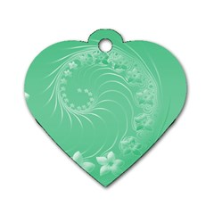 Light Green Abstract Flowers Dog Tag Heart (two Sided) by BestCustomGiftsForYou