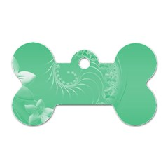 Light Green Abstract Flowers Dog Tag Bone (one Sided) by BestCustomGiftsForYou