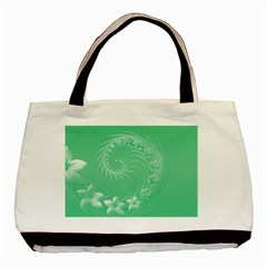 Light Green Abstract Flowers Twin Sided Black Tote Bag by BestCustomGiftsForYou