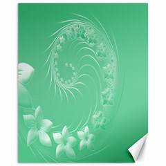 Light Green Abstract Flowers Canvas 11  X 14  9 (unframed) by BestCustomGiftsForYou