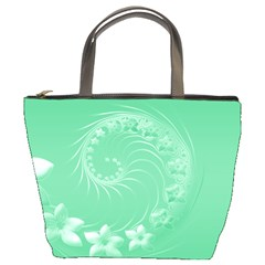 Light Green Abstract Flowers Bucket Bag by BestCustomGiftsForYou