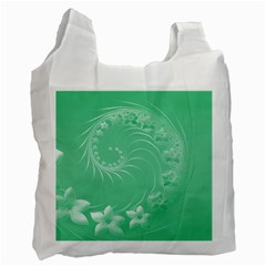 Light Green Abstract Flowers Recycle Bag (one Side)