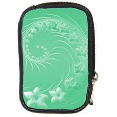 Light Green Abstract Flowers Compact Camera Leather Case by BestCustomGiftsForYou