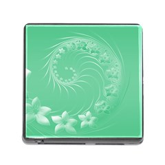 Light Green Abstract Flowers Memory Card Reader With Storage (square) by BestCustomGiftsForYou