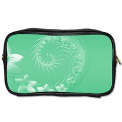 Light Green Abstract Flowers Travel Toiletry Bag (one Side) by BestCustomGiftsForYou
