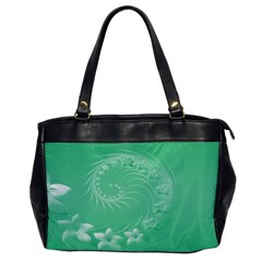 Light Green Abstract Flowers Oversize Office Handbag (one Side) by BestCustomGiftsForYou