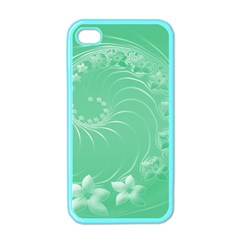Light Green Abstract Flowers Apple Iphone 4 Case (color) by BestCustomGiftsForYou