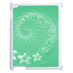 Light Green Abstract Flowers Apple Ipad 2 Case (white) by BestCustomGiftsForYou
