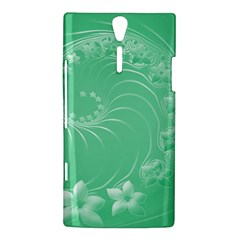 Light Green Abstract Flowers Sony Xperia S Hardshell Case  by BestCustomGiftsForYou