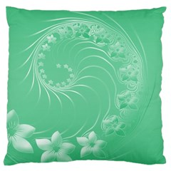 Light Green Abstract Flowers Large Cushion Case (two Sides) by BestCustomGiftsForYou