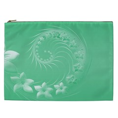 Light Green Abstract Flowers Cosmetic Bag (xxl) by BestCustomGiftsForYou