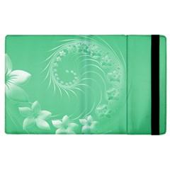 Light Green Abstract Flowers Apple Ipad 3/4 Flip Case by BestCustomGiftsForYou