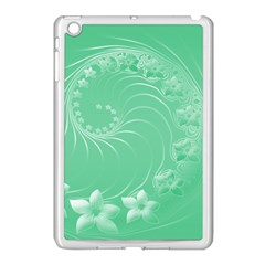 Light Green Abstract Flowers Apple Ipad Mini Case (white) by BestCustomGiftsForYou