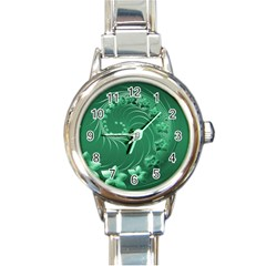 Green Abstract Flowers Round Italian Charm Watch by BestCustomGiftsForYou