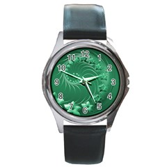 Green Abstract Flowers Round Metal Watch (silver Rim)