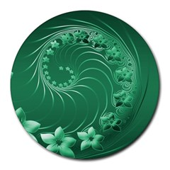 Green Abstract Flowers 8  Mouse Pad (round) by BestCustomGiftsForYou