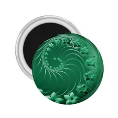 Green Abstract Flowers 2 25  Button Magnet by BestCustomGiftsForYou