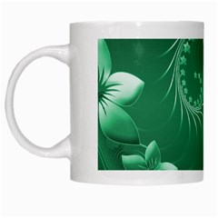 Green Abstract Flowers White Coffee Mug