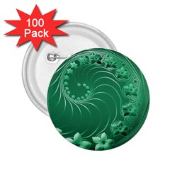Green Abstract Flowers 2 25  Button (100 Pack) by BestCustomGiftsForYou