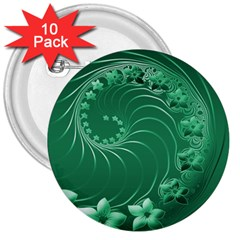 Green Abstract Flowers 3  Button (10 Pack) by BestCustomGiftsForYou