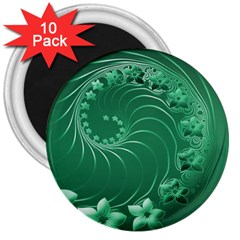 Green Abstract Flowers 3  Button Magnet (10 Pack) by BestCustomGiftsForYou