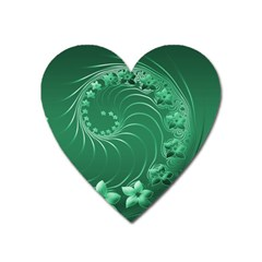 Green Abstract Flowers Magnet (heart) by BestCustomGiftsForYou