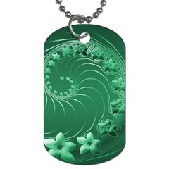 Green Abstract Flowers Dog Tag (one Sided) by BestCustomGiftsForYou