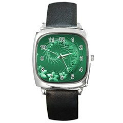 Green Abstract Flowers Square Leather Watch by BestCustomGiftsForYou