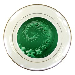 Green Abstract Flowers Porcelain Display Plate