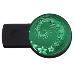 Green Abstract Flowers 4gb Usb Flash Drive (round)