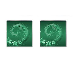 Green Abstract Flowers Cufflinks (square)