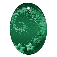 Green Abstract Flowers Oval Ornament (two Sides) by BestCustomGiftsForYou