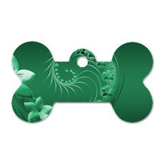 Green Abstract Flowers Dog Tag Bone (one Sided) by BestCustomGiftsForYou