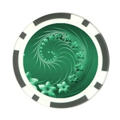 Green Abstract Flowers Poker Chip by BestCustomGiftsForYou