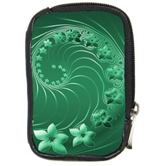 Green Abstract Flowers Compact Camera Leather Case by BestCustomGiftsForYou