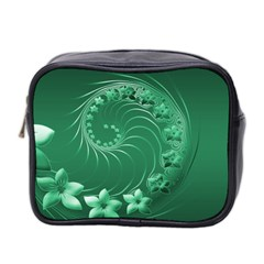 Green Abstract Flowers Mini Travel Toiletry Bag (two Sides) by BestCustomGiftsForYou