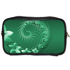 Green Abstract Flowers Travel Toiletry Bag (one Side) by BestCustomGiftsForYou