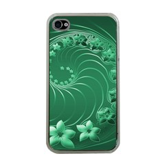Green Abstract Flowers Apple Iphone 4 Case (clear) by BestCustomGiftsForYou