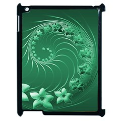 Green Abstract Flowers Apple Ipad 2 Case (black) by BestCustomGiftsForYou