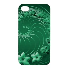 Green Abstract Flowers Apple Iphone 4/4s Premium Hardshell Case by BestCustomGiftsForYou