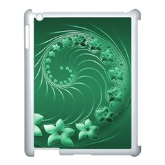 Green Abstract Flowers Apple Ipad 3/4 Case (white) by BestCustomGiftsForYou