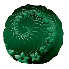 Green Abstract Flowers 18  Premium Round Cushion  by BestCustomGiftsForYou