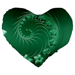 Green Abstract Flowers 19  Premium Heart Shape Cushion by BestCustomGiftsForYou