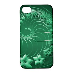 Green Abstract Flowers Apple Iphone 4/4s Hardshell Case With Stand by BestCustomGiftsForYou