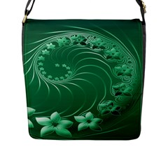 Green Abstract Flowers Flap Closure Messenger Bag (large) by BestCustomGiftsForYou