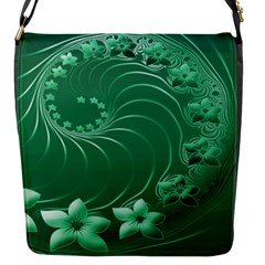 Green Abstract Flowers Flap Closure Messenger Bag (small) by BestCustomGiftsForYou