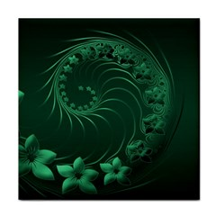 Dark Green Abstract Flowers Ceramic Tile by BestCustomGiftsForYou